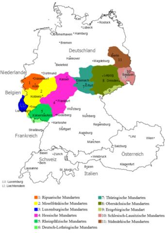 Mitteldeutsche Dialekte; nördlich davon Niederdeutsch, südlich davon Oberdeutsch - (Hochdeutsch, standarddeutsch bzw. hochsprache)