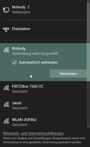 Option automatisches Verbinden unter Windows 10 - (Windows 10, Wifi, UEFI Firmware)