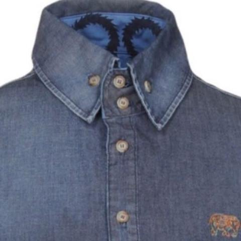 Jeanshemd hochgeschlossen - (Mode, Kleidung, Klamotten)