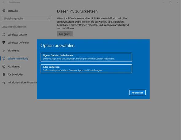Win10, PC zurücksetzen - (Computer, Windows, Windows 10)