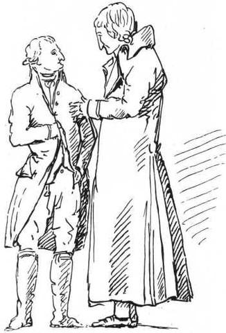 Goethe (l.) und Schiller (r.), gezeichnet von Reinhart (gemeinfrei) - (deutsch, Politik, Kunst)