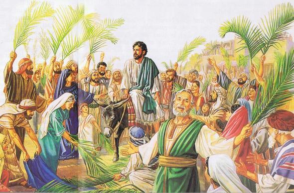 So kann es ausgesehen haben:  Jesu Einzug in Jerusalem - (Religion, Hausaufgaben)