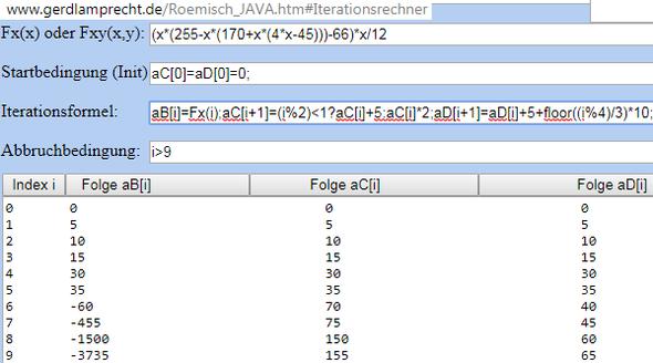 Iterationsrechner zeigt 3 mögliche Lösungen in Tabellenform - (Mathe, Mathematik, Zahlen)