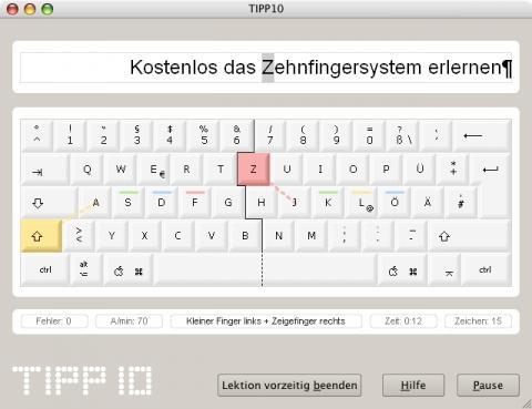 Tipp10 Trainingsfenster unter Mac OS X - (lernen, 10-Finger-System)