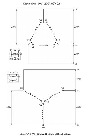 Motor Dreieck 230V / Stern 400 V (Quelle: GF/electrician) - (Technik, Elektrik, Elektrotechnik)