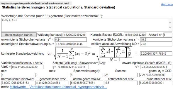 Rechner für statistische Berechnungen - (Mathe, Rechnen)