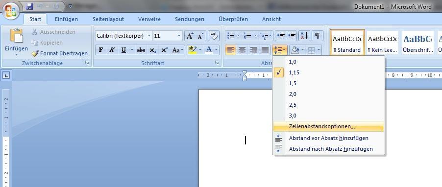 Frage Zu Word 07 - Zeilenabstand (Computer, Pc)