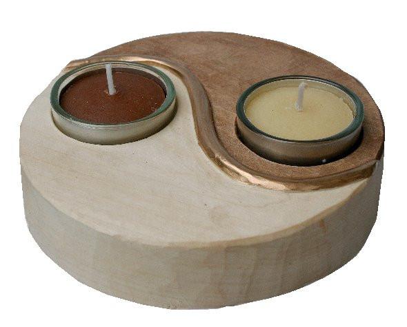 Schnitzen Sie einen Teeelichthhalter mit Yin & Yang selbst aus Holz - (Schnitzen, yin yang)