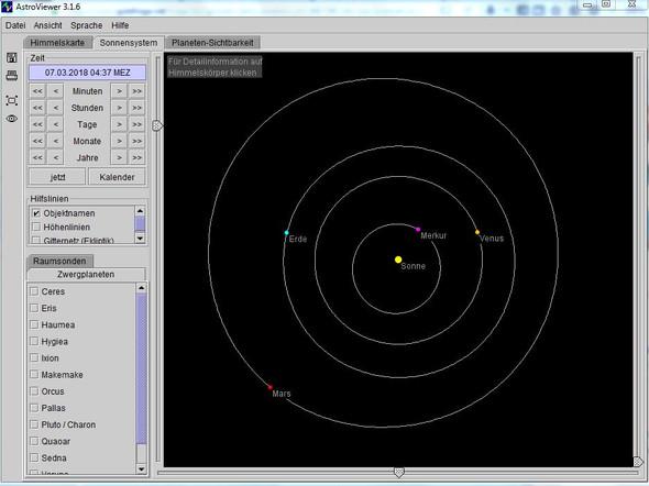 """Position der Venus als """"Abendstern"""" - (Sterne, groß)"""