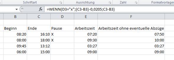 Excel Hilfe Stundenzettel Formel? (Zeiterfassung)