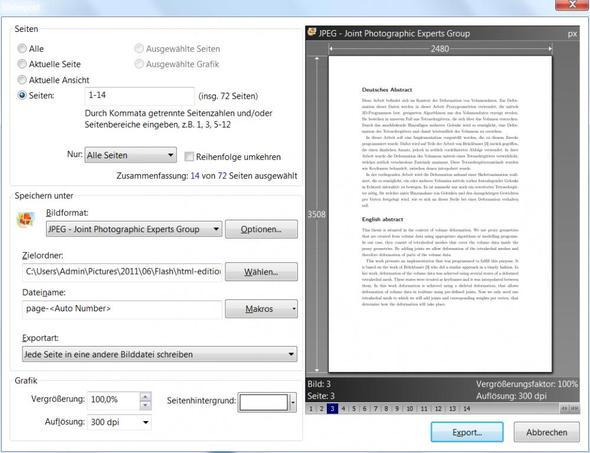 Export als Bild eines PDFs - (Bilder, Format)