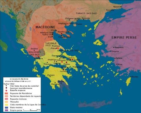 Karte um 336 v. Chr. - (Geschichte, Griechenland, Antike)