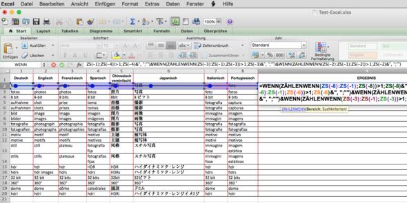 Die Tabelle mit Formel und Fehlerpfad - (Computer, Excel, Duplikate)