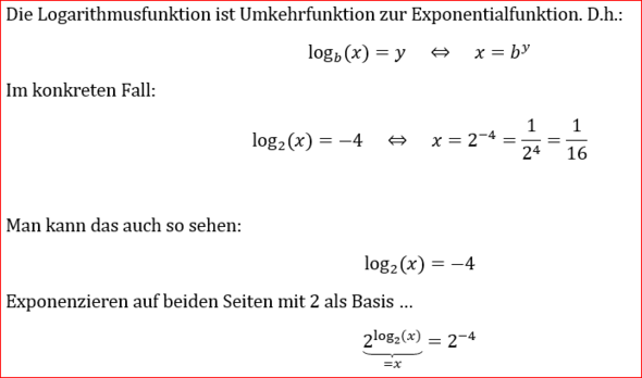 Logarithmus zur Basis 2 von x ist gleich minus 4? (Schule, Mathe ...