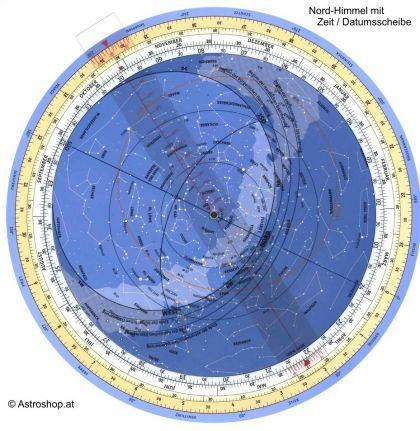 Polarstern in der Mitte der Sternkarte des Nordhimmels - (Astronomie, Sterne, richtung)