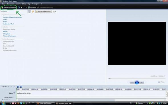 erst dateien importieren - (Windows Movie Maker, Stop-Motion)