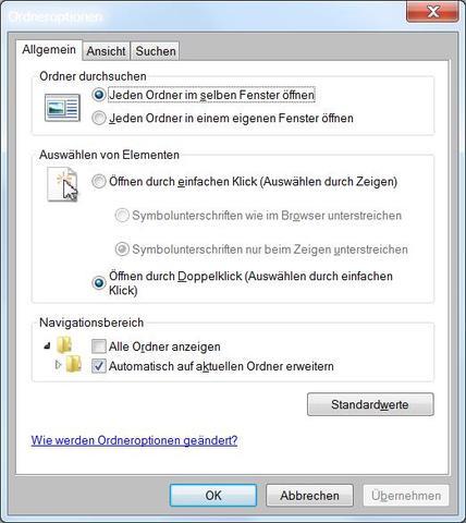 Ordneroptionen - (Computer, Datei, Ordner)