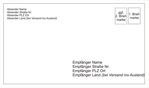 Briefumschlag Adressieren Brief Adresse