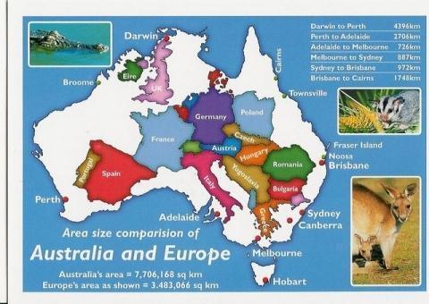 Australien-Europa-Größenvergleich - (Australien, Reiseplanung Australien, Sehenswürdigkeiten Australien)