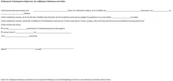 Anhang - Einwilligung - (Klassenfahrt, Schulrecht)