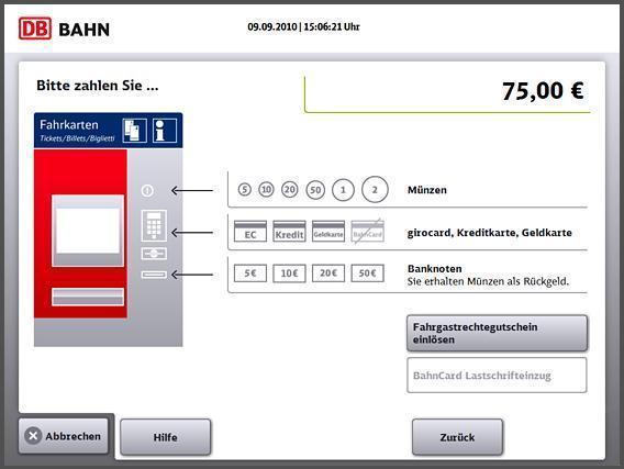 Anzeige am DB-Automaten - (Geld, Deutsche-Bahn)