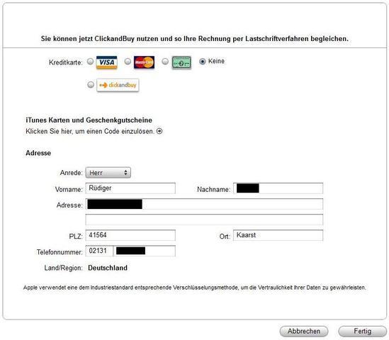 iTunes Zahlungsdaten - (iPhone, bezahlungsart)