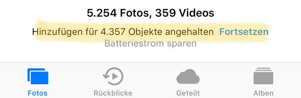 iOS stoppt iCloud Synchronisation um Batteriestrom zu sparen - (iPhone, Foto, Ausrufezeichen)