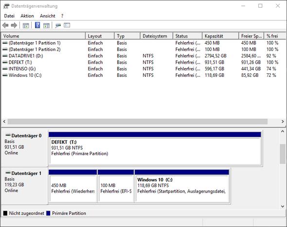 Datenträgerverwaltung - (Festplatte, Windows 10, hdd)