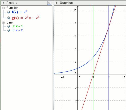 Fläche zw. exp, Achsen und Tangente - (Schule, Mathe, Mathematik)