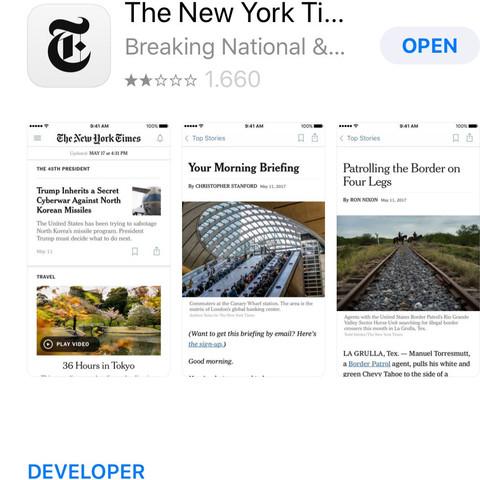 So sieht die New York Times im App Store aus.  - (Computer, PC, Schule)