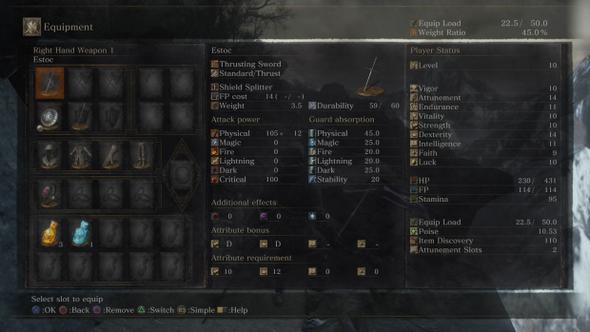 Ausrüstungs-Menü - (Computer, Spiele und Gaming, Dark Souls)