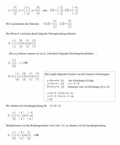 Schnitt von zwei Ebenen - (Schule, Technik, Mathe)