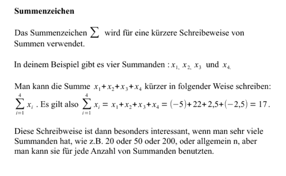Beispiel der Verwendung des Summenzeichens - (Mathe, Mathematik)