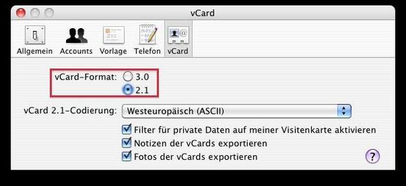 vCard - (Mac, Email, Informationen)