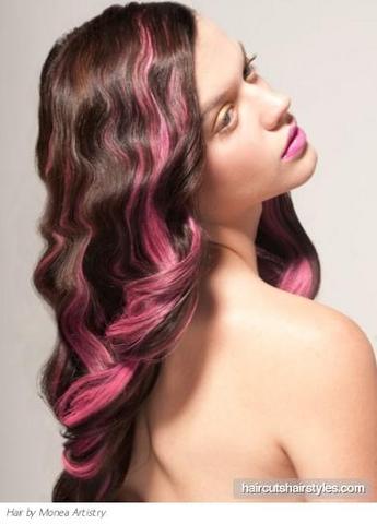 Braune haare rosa strahnen