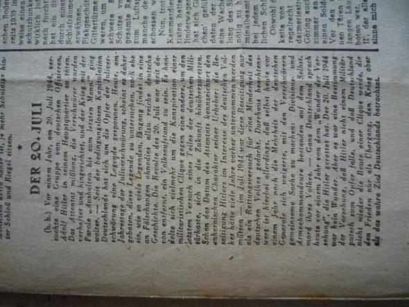 Artikel des Augsburger Anzeigers vom 20.Juli 1945 - (Geschichte, Referat, Stauffenberg)