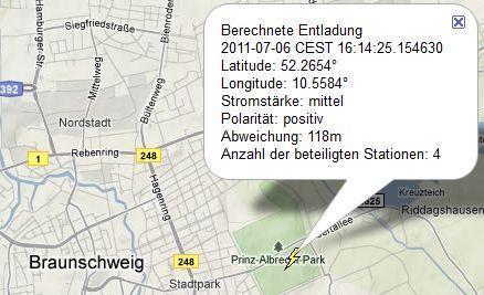 Beispiel Blitzkarte, Ausschnitt für einen Blitz in Braunschweig am 6. Juli 2011 - (Versicherung, Schaden)