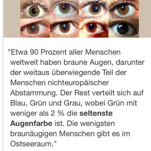 Die seltenste Augenfarbe ist Grün! - (Augen, Farbe)