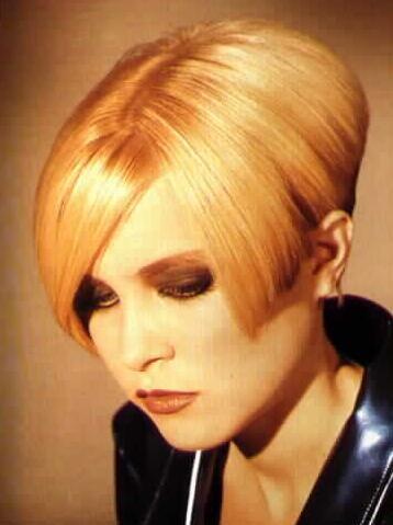 Haar Lesbisch blondes Kurzes Top 36