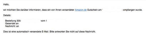 - (Amazon, E-Mail, Gutschein)