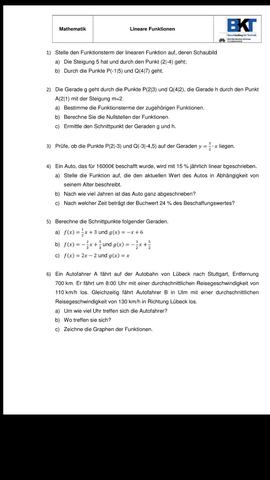 Lineare Funktionen benötige Hilfe? (Schule, Mathe, Mathematik)