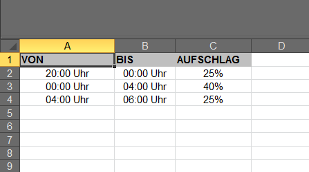 excel tabelle nachtschichtzulagen berechnen mit formel