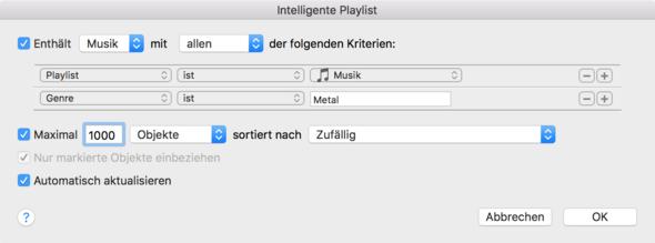 - (Apple, Playlist, Sortieren)