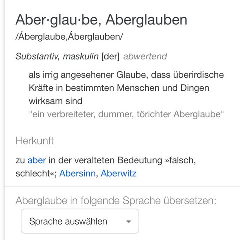 Definition Aberglaube - (Angst, Tod)