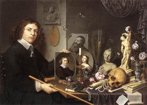 Selbstpotrait mit Vanitassymbolen - (Kunst, geheimnis, David Bailly)