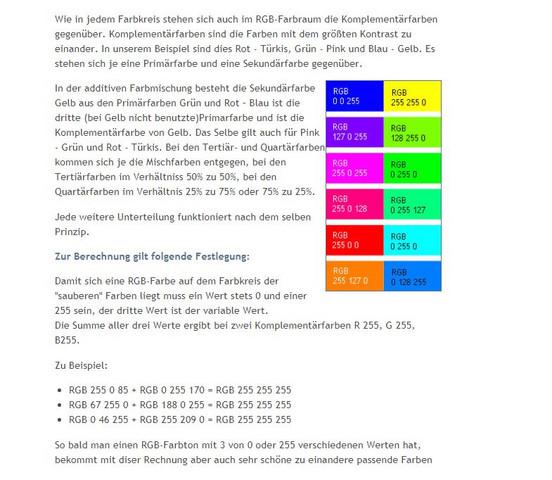 Farbe Rechnung Lehre