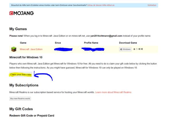 Wie Bekomme Ich Den Kostenlosen Minecraft Windows 10 Code Wenn Ich Minecraft Java Gekauft Habe Betrug Mojang