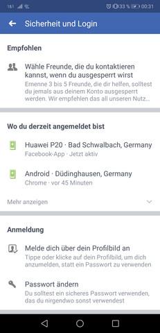 Handy facebook login über Help Center