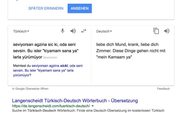 Google übersetzer Türkisch