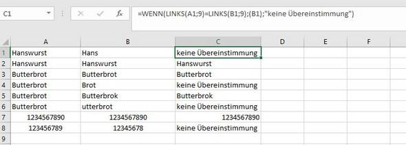 Wie kann ich bei Excel zwei Spalten miteinander vergleichen und den ...